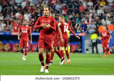 Madrid, Spain - 01 MAY 2019: Virgil van Dijk player during the UEFA Champions League 2019 final match between FC Liverpool  vs Tottenham Hotspur at Wanda Metropolitano, Spain