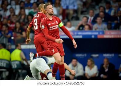 Madrid, Spain - 01 MAY 2019: Jordan Henderson player during the UEFA Champions League 2019 final match between FC Liverpool  vs Tottenham Hotspur at Wanda Metropolitano, Spain