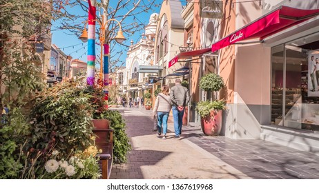 Madrid / Spain - 03 30 2019: Clarks store at Las Rozas village, an open-air shopping village with pedestrianized streets with luxury fashion brands near Madrid, Spain
