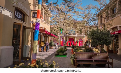 Madrid / Spain - 03 30 2019: Love letters at Las Rozas village, an open-air shopping village with pedestrianized streets with luxury fashion boutiques near Madrid, Spain
