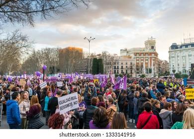 Madrid, Spain, 03082019 Women take the streets al Women's International Day 2019