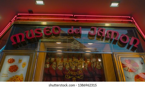 Madrid / Spain - 04 14 2019: Storefront of the famous tourists bar with serrano jam meat in the downtown Madrid, Spain next to Puerta del Sol square