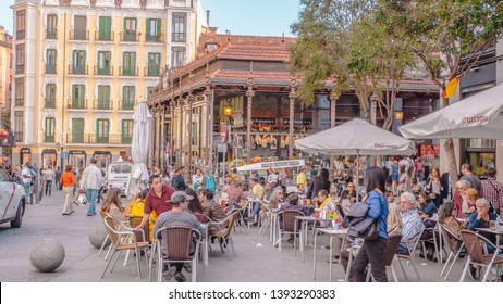 Madrid / Spain - 04 14 2019: Mercado de San Miguel is a covered market in Madrid, Spain located in the downtown area next to the Plaza Mayor. It is the most famous market in Madrid with tapas