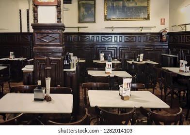 MADRID, SPAIN - 04 APRIL, 2018: the interior of the famous Cerveceria Alemana, in which the American author Ernest Hemingway liked to shared a table with legendary bullfighter Luis Miguel Dominguín.