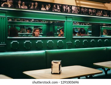 MADRID, SPAIN - 04 APRIL, 2018: Interior of the popular Chocolateria San Gines. It has served principally hot chocolate and churros since 1894.