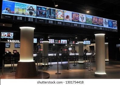 """MADRID, SPAIN - 05, 08, 2018: Cinema hall right before the """"Cinema Festivity"""" began, a celebration that each year takes thousands of people to the cinema by reducing ticket prices a lot."""