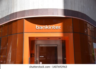 Madrid / Spain - 05 26 2019: Bank Store front - Bankinter. Bank (Spanish bank)