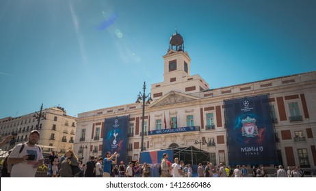 Madrid / Spain - 05 31 2019: UEFA Championship League final decorations located at Puerta del Sol main square before the final match in the downtown area of Madrid