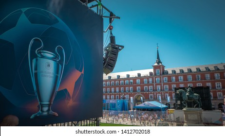 Madrid / Spain - 05 31 2019: A soccer field is installed at the Main Square or Plaza Mayor in Madrid for the UEFA Championship League freestyle demostration before the Liverpool and Tottenham final