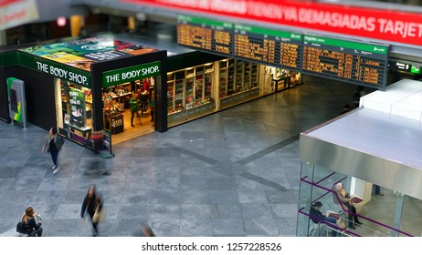 MADRID, SPAIN - 05 APRIL, 2018: The interior of the passenger station Atocha in Madrid. Madrid Atocha is the largest railway station in Madrid.