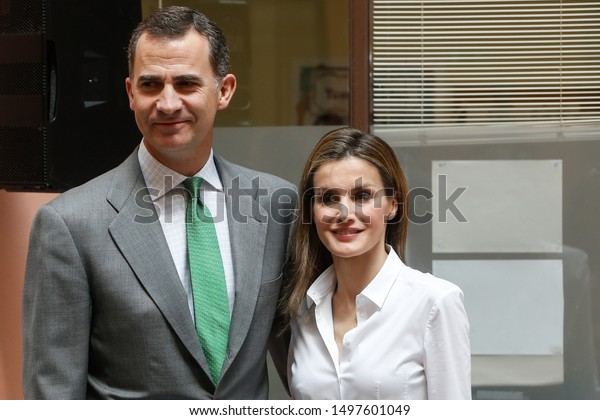 MADRID, SPAIN 06/05/2014 THE KINGS OF SPAIN, KING FELIPE II AND QUEEN LETIZIA DURING AN EVENT IN MADRID.