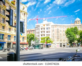 Madrid, Madrid, Spain; 07 15 2018: Pictures of the famous Chamberí square, also known as Plaza de Chamberi, its old metro station, and buildings, in a beautiful Summer day, in Madrid, Spain, Europe.
