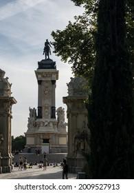Madrid, Spain; 07.14.2021: The Monument to Alfonso XII (Spanish: Monumento a Alfonso XII) located in the  Retiro Park (El Retiro), Madrid, Spain