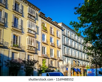 Madrid, Spain; 08 16 2017: A bimbo truck is parked in front of a building in the Plaza Del Angel which is located in the Barrio De Las Letras, also known as the Barrio De Los Literatos or De Las Musas