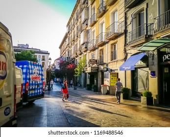 Madrid, Spain; 08 16 2018: A bimbo truck is parked in front of a building in the Plaza Del Angel which is located in the Barrio De Las Letras, also known as the Barrio De Los Literatos or De Las Musas