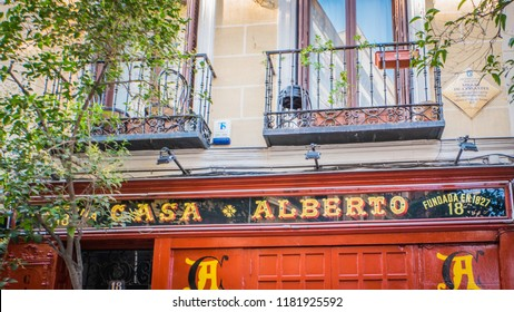 Madrid / Spain - 08 16 2018: Casa Alberto old bar, taberna in the literary quarter where Miguel Cervantes was living during Spanish Golden Age near the Plaza de Santa Ana or Saint Anne square.