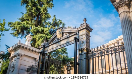 Madrid / Spain - 08 19 2017: Entrance gate at the National Archaeological museum at Plaza de Colon or Columbus square downtown Madrid.
