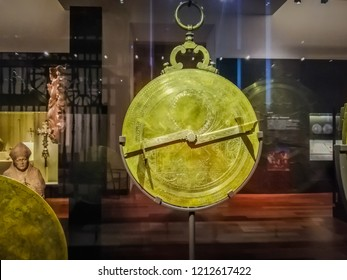 Madrid / Spain - 08 19 2018: Planispheric astrolabe at the exhibition inside the National Archaeological Museum downtown Madrid near the Columbus square or Plaza de Colon