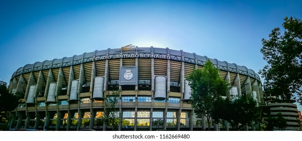 Madrid, Spain; 08 21 2017: A gorgeous panoramic wide angle view of the main entrance to the Santiago Bernabeu soccer or football stadium. The photo was taken from the Paseo de Castellana street.