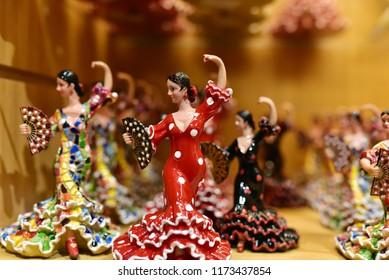 MADRID - SPAIN / 08.28.218: Colorful souvenir flamenco dancer dolls recall old Spain, Madrid Airport, Spain