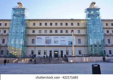 MADRID, SPAIN -1 FEBRUARY 2016- Opened in 1992, the Museo Nacional Centro de Arte Reina Sofia is a museum of 20th century art in Madrid. The most famous artwork on display is Guernica by Picasso.