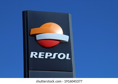 Madrid, Spain. 10 16 2018. REPSOL service station on Paseo de la Castellana. Logo of the multinational oil company on a sunny day.