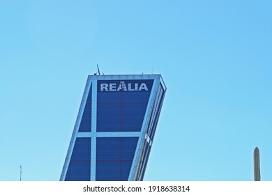 Madrid, Spain. 10 16 2018. Torre Realia one of the two KIO Towers or Puerta de Europa in the famous Paseo de la Castellana in Madrid. Leaning office tower belonging to Realia real estate.