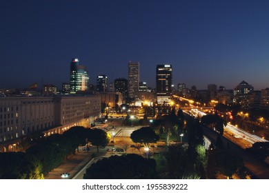 Madrid, Spain. 10 24 2018. Public park of the Nuevos Ministerios government building at dawn. In the background the skyscrapers of the financial complex of Azca next to Paseo de la Castellana street.