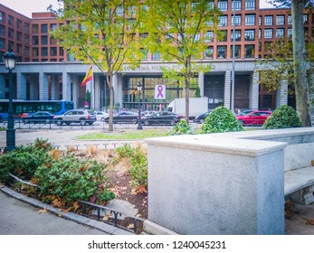 Madrid, Spain - 11 24 2018: The exterior facade of the old Ministry of Health, Social Services and Equality, also known as Ministry of Health, Consumption and Social Welfare, in Paseo Del Prado