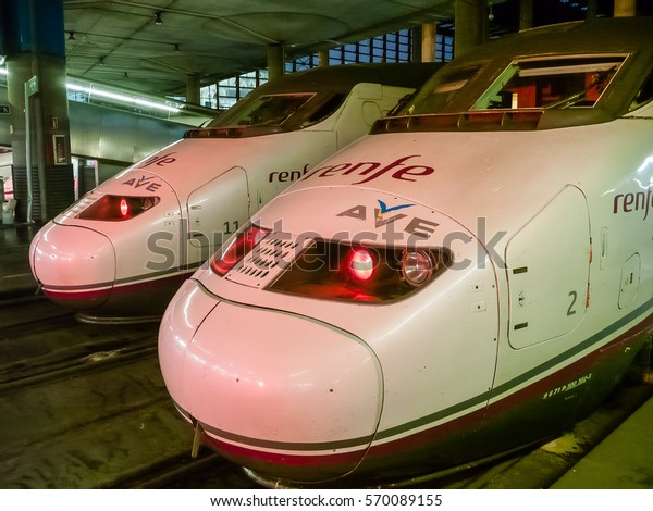 MADRID, SPAIN - 11 FEBRUARY, 2014: Speed railway express Renfe Ave company at Atocha central station