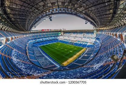 MADRID / SPAIN - 11.20.2018: Santiago Bernabeu football Stadium from Inside