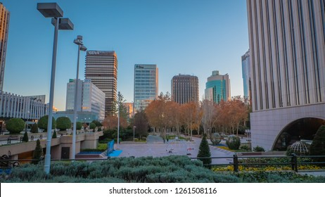 Madrid / Spain - 12 14 2018: Adeslas, BBVA, Gmp office buildings panoramic view at the Picasso park in the Azca neighborhood financial district at Paseo de la Castellana street downtown Madrid