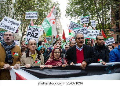 MADRID, SPAIN - 12 November, 2016: Jira Bulahi Bad (C), delegate of the Polisario Front in Spain, and Boulahi Sid (R), Saharawi Minister of Cooperation during the demonstration held in Madrid.