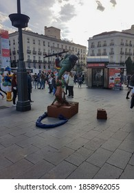 Madrid Spain; 12/08/2019: People walking through the famous Puerta del Sol in Madrid