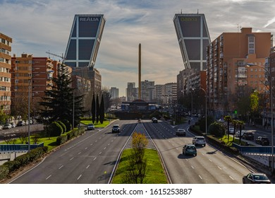 Madrid, Spain 12/23/2019 The Gate of Europe towers (Spanish: Puerta de Europa), twin office buildings at Plaza Castilla in Madrid, the towers were designed by architects Philip Johnson and John Burgee
