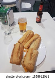 Madrid, Spain 15 Sep 2018: French tortilla and meat sandwiches with beer