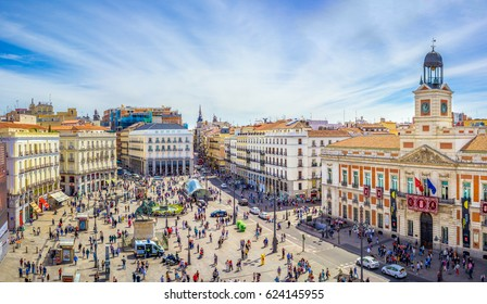 Madrid, Spain - 18 April 2017: The Puerta del Sol square is the main public space in Madrid. In the middle of the square is located the office of the President of the Community of Madrid.