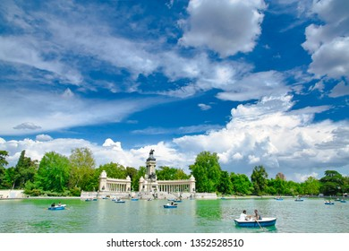 "Madrid, Spain - 20 May 2018 - Monument to Alfonso XII in the Parque del Buen Retiro ""Park of the Pleasant Retreat"" in Madrid, Spain"