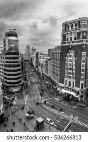 Madrid, Spain, 2016 December, 14. Black and white  photography: Gran Via Street