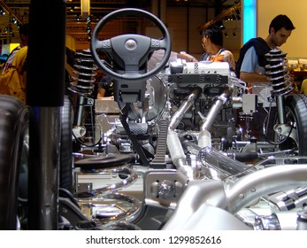 Madrid, Spain, 2016, Feria del Automovil: Detail of the interior of a car