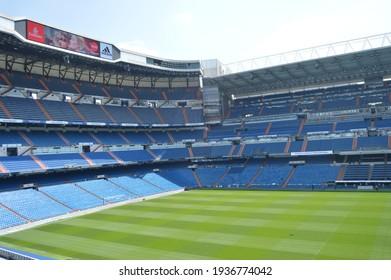 MADRID, SPAIN- 20TH MAY, 2018: Inside of Santiago Bernabeu's Stadium