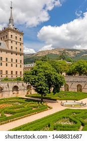 Madrid, Spain 21 July 2018 - Tourist attraction near city of Madrid. Castle el  Escorial, the Royal seat of San Lorenzo de el Escorial. Spain
