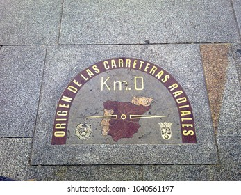 Madrid, Spain - 22 January 2014:  Spanish Kilometre Zero from which distances are traditionally measured.