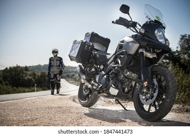 Madrid, Spain. 24/05/2020. The Suzuki V-Strom 650 (DL650) is a mid-weight, sport touring motorcycle launched in 2004