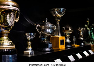 MADRID, SPAIN - 25 MARCH, 2018:The Museum of the Real Madrid Football Club cups and awards the club.