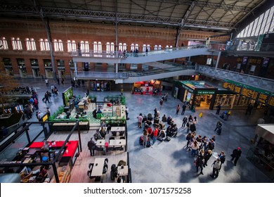 MADRID, SPAIN - 27 MARCH, 2018: The interior of the passenger station Atocha in Madrid.