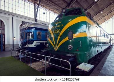 MADRID, SPAIN - 27 MARCH, 2018: Interior carriages of the train compartment in the museum of the railway in Madrid.