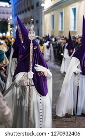 MADRID, SPAIN - 28 MARCH, 2018: The traditional profession of religious Catholic orders during the Holy Week of the course of sinners along the streets of Madrid.