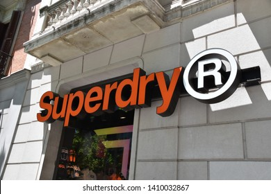 Madrid / Spain - 29 05 2019: Store front sign - Superdry (Clothing brand)