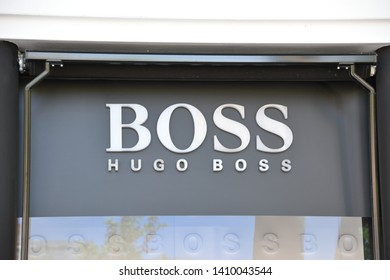 Madrid / Spain - 29 05 2019: Store front sign - BOSS (Hugo Boss luxury clothing brand)
